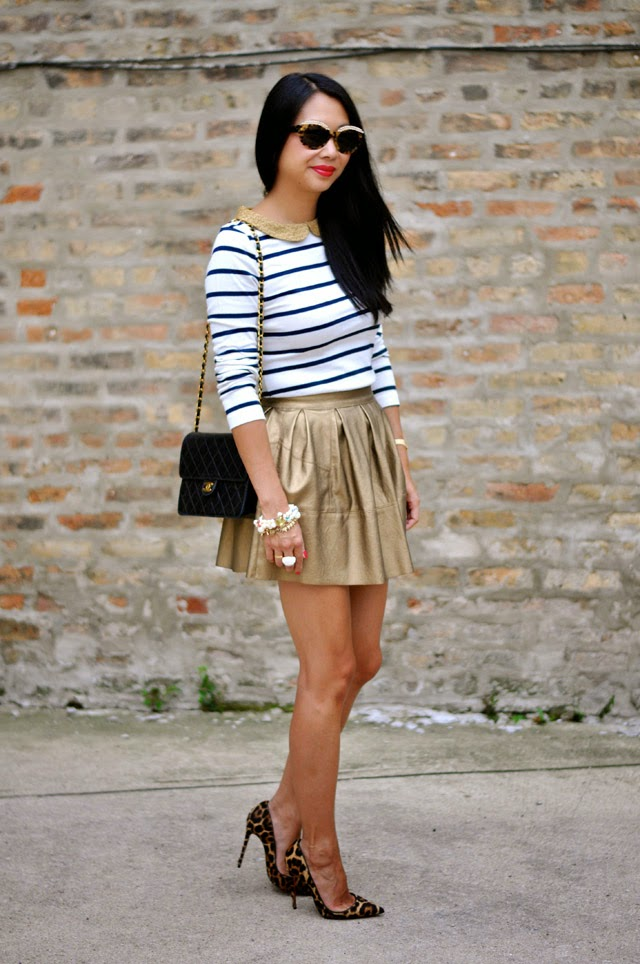 Boden Stripe Tee and Asos Gold Skirt