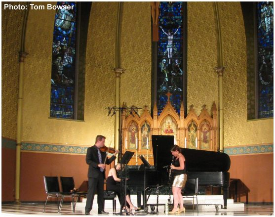 Fifth House Ensemble Performing Inside St. James Cathedral featuring Jani Parsons, Piano; Drew Williams, Violin; Jennifer Woodrum, Clarinet | photograph by Tom Bowser