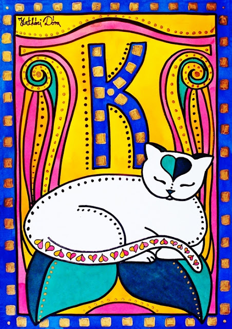 Peace and Love cat painting by Dora Hathazi Mendes