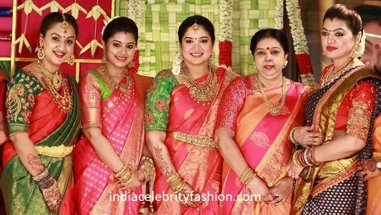 South Indian Celebrities in Silk Sarees at Sridevi Vijaykumar Baby Shower