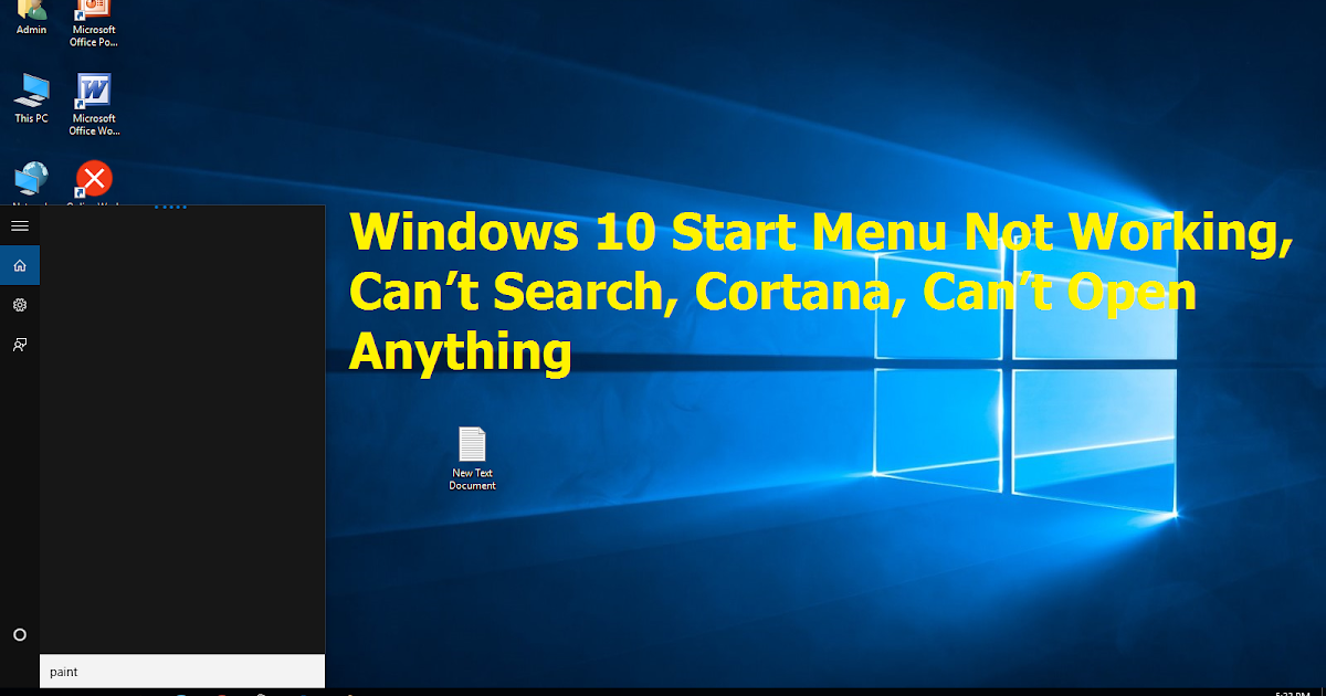 Learn New Things  How To Fix Windows 10 Start Menu Not Working  Can U2019t Search  Cortana  Can U2019t