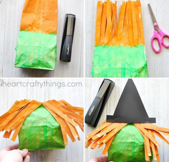 Manualidades halloween bruja con una bolsa de papel