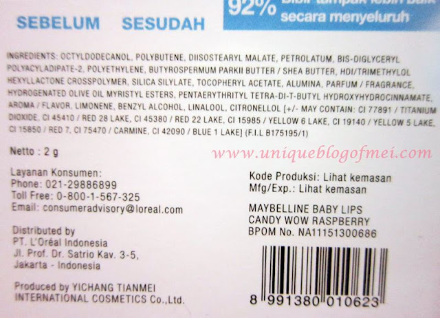 Baby Lips Candy Wow ingredients
