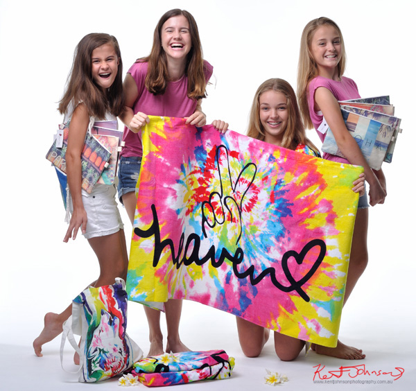 Four girls, studio white background, Tween to Teen Fashion - Look-book & Branding Photography.