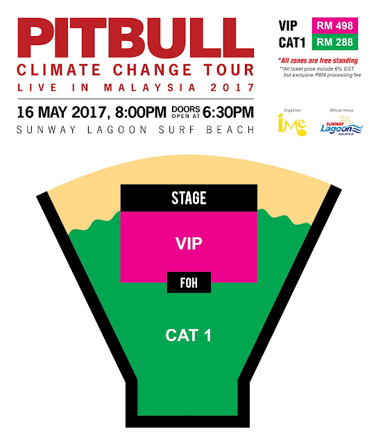 PITBULL CLIMATE CHANGE TOUR LIVE IN MALAYSIA 2017 Seating Plan Sunway Lagoon Surf Beach VIP and CAT 1