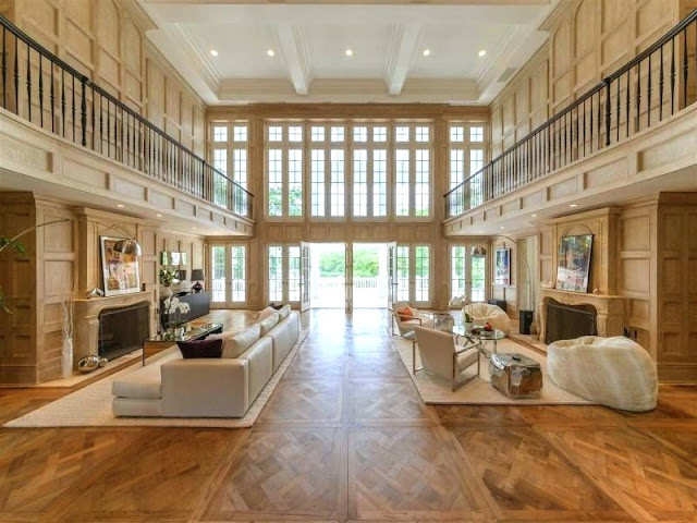 Estate Hamptons parquet floors and oak paneled walls simple staging