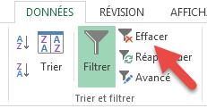 Supprimer un filtre