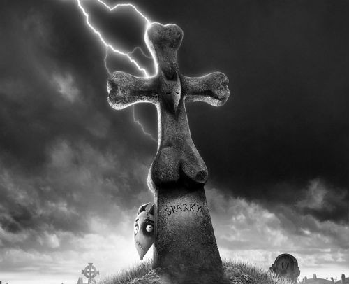 Sparky in the cemetery Frankenweenie 2012 aninmatedfilmreviews.filminspector.com