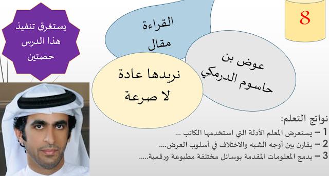 حل درس نريدها عادة لا صرعة في اللغة العربية للصف الحادي عشر الفصل الاول