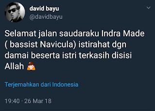 Indra Made Basist Navicula Meninggal Dunia menyusul Kekasihnya Alfriana Dewi Karena Kecelakaan