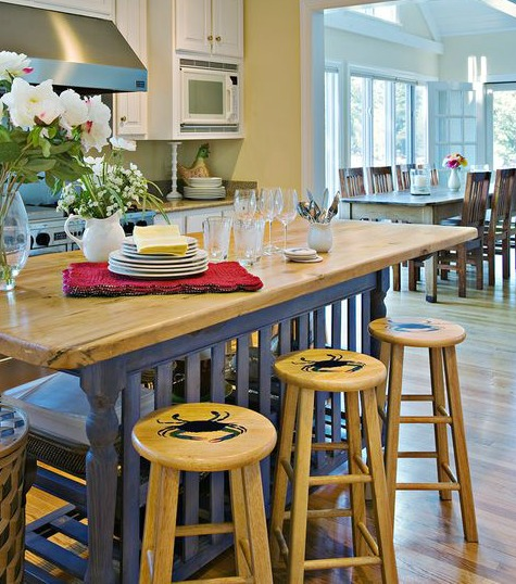Stenciled Bar Stools with a Nautical Theme