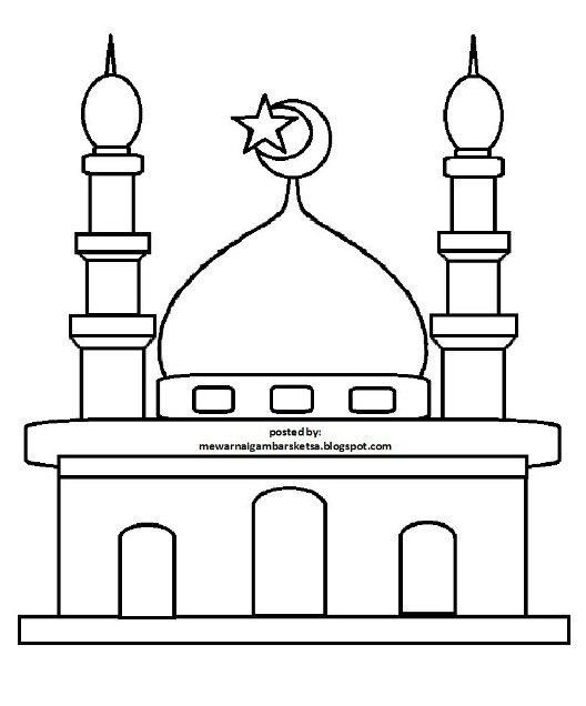 Masjid Kartun Hitam Putih Gambar Islami