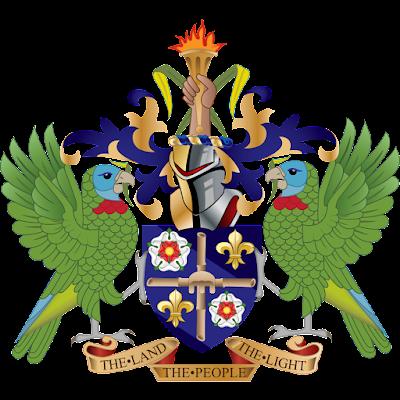Coat of arms - Flags - Emblem - Logo Gambar Lambang, Simbol, Bendera Negara Saint Lucia