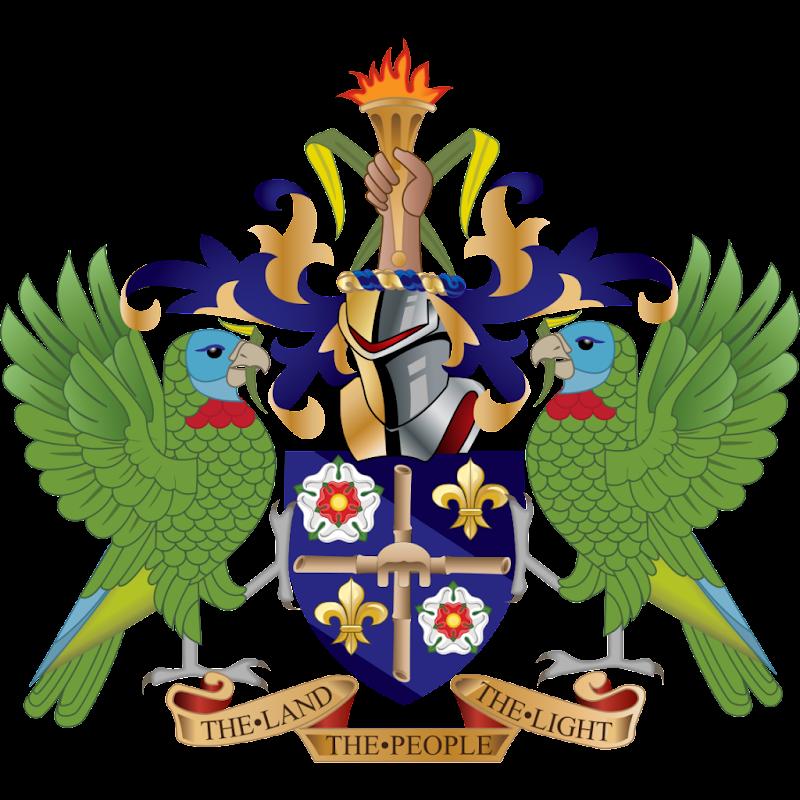 Logo Gambar Lambang Simbol Negara Saint Lucia PNG JPG ukuran 800 px