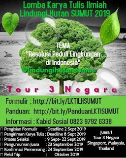 Lomba Karya Tulis Ilmiah Nasional 2019 LH SUMUT, Hadiah Tour 3 Negara