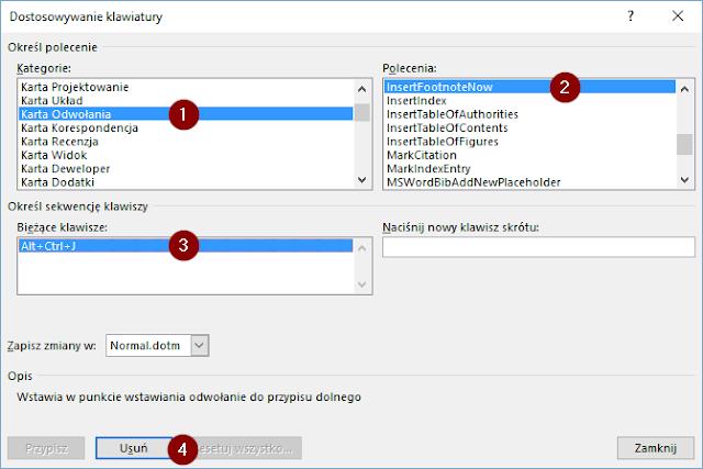 Usuwanie przypisania skrótu do funkcji wstawiania indeksu dolnego