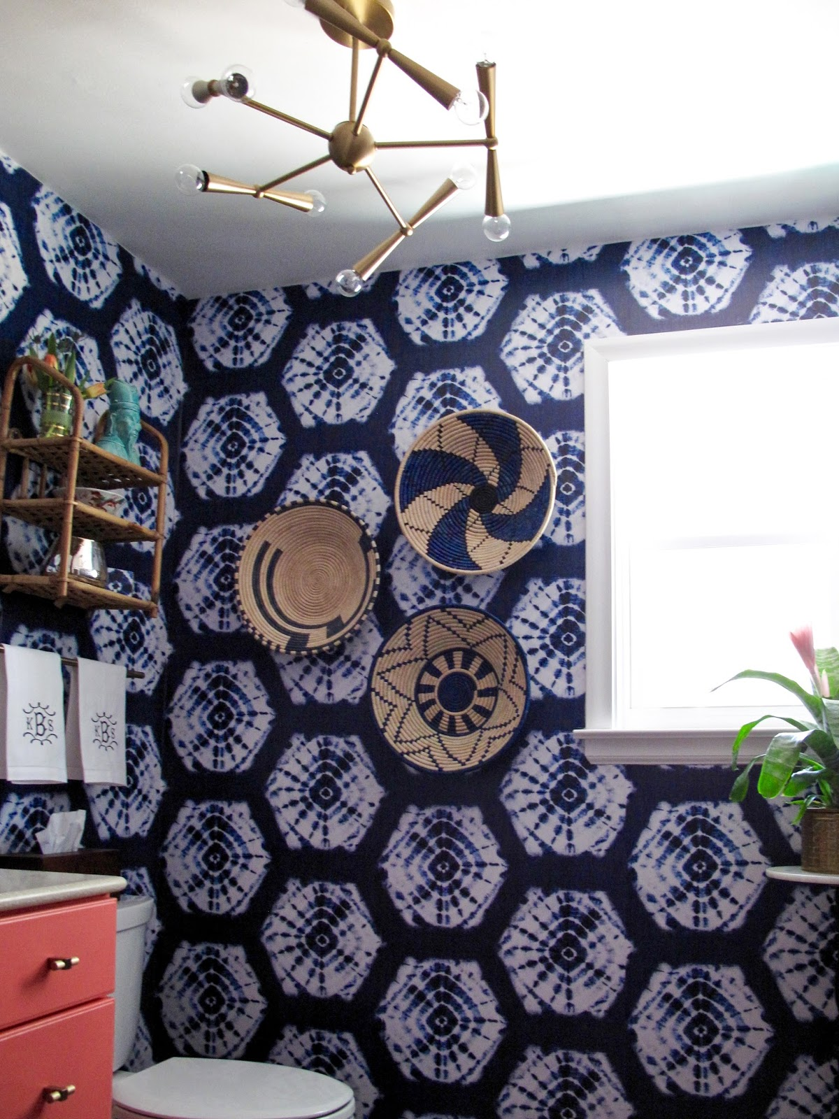 Wallpaper Over Bathroom Tiles. Moving The Light Fixture From The Wall To The Ceiling Was A Game Changer The Original 3 Light Sconce That Hung Over The Mirror