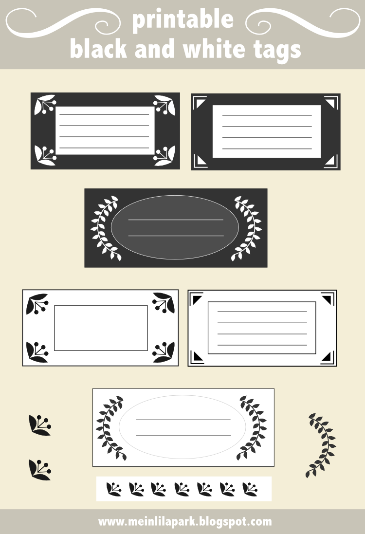 free printable black-and-white tags and address labels ...