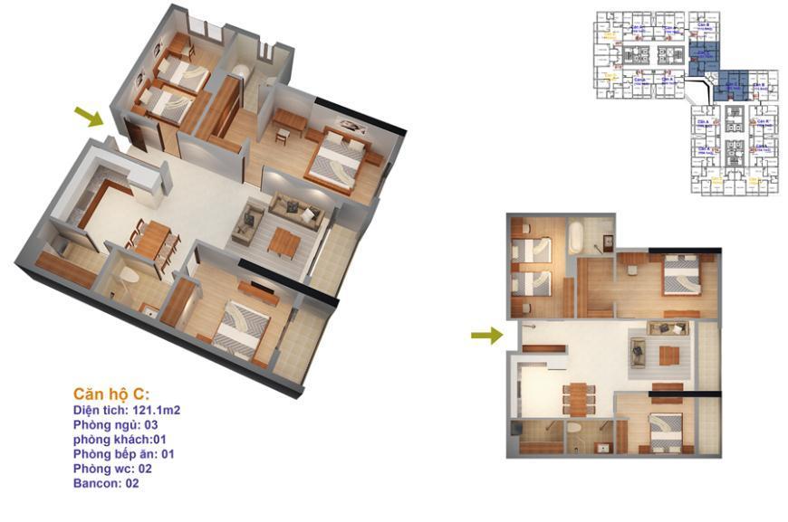 Mặt bằng căn hộ số 08 và 09 Ruby 4- Goldmark City 136 Hồ Tùng Mậu