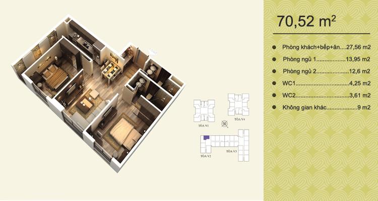 Home City Trung Kính - căn 70,52 m2