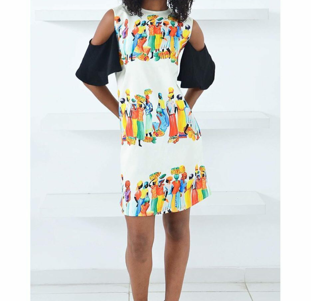 90f78e4a532f3a Off the shoulder shift dress from Frankie   Co Lagos. I love the prints on  this dress