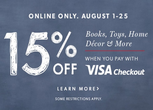 Chapters Indigo 15% Off Books, Toys, Home, Decor With Visa Checkout