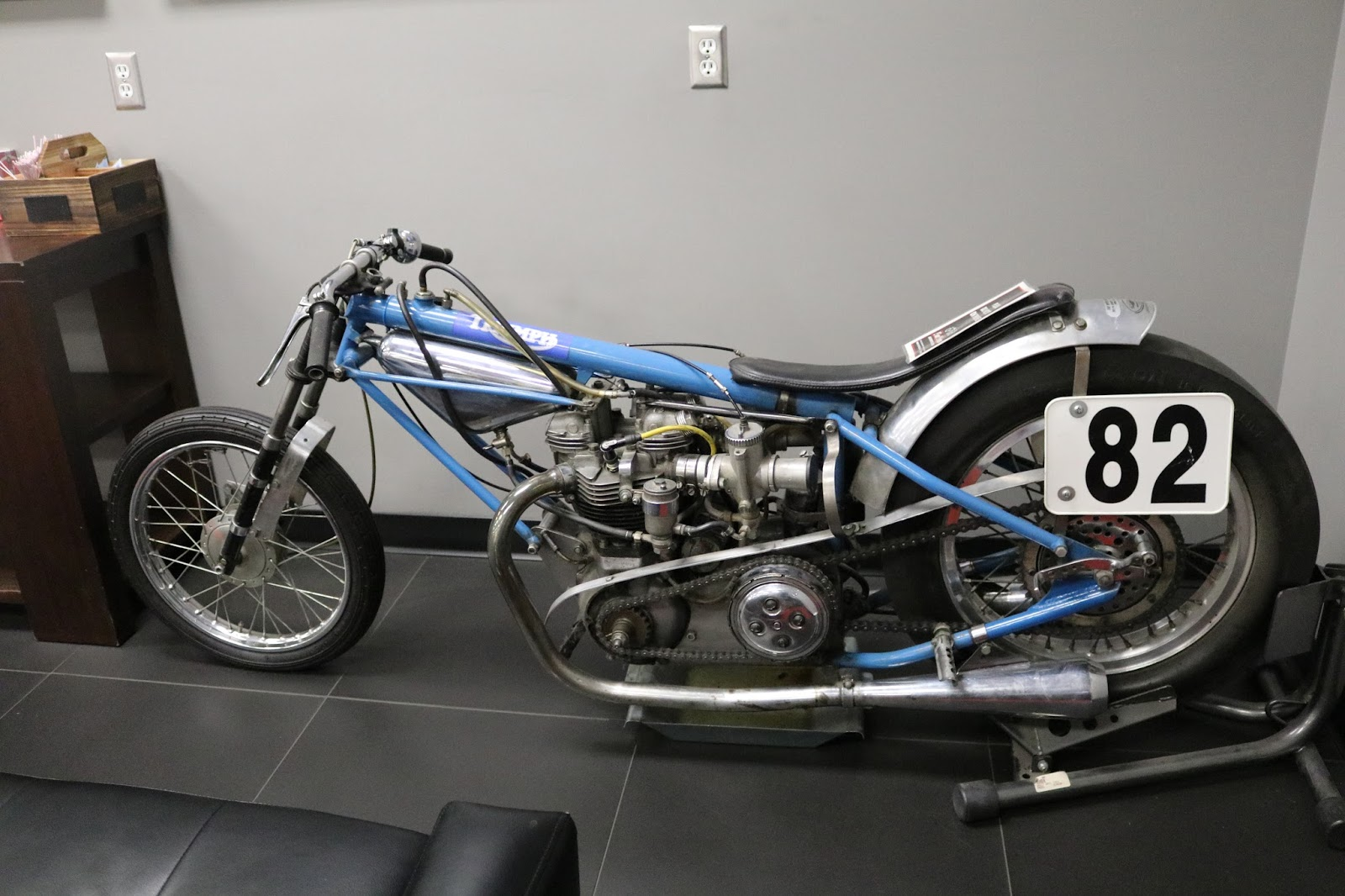 Oldmotodude Triumph Drag Bike On Display At Fay Myers