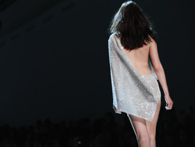 Bella Hadid goes braless in Swarovski encrusted dress for the Alexandre Vauthier Paris Fashion Week Show