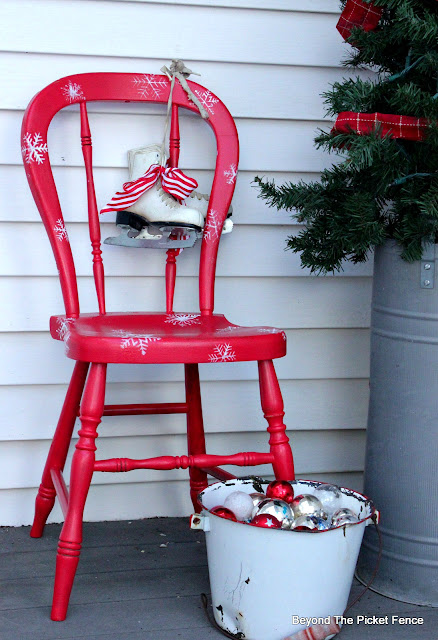 upcycle a thrift store chair with paint for you Christmas porch