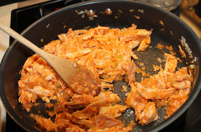 The Buffalo Chicken Mixture in a Pan