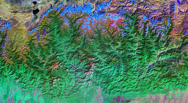 Gambar Peta negara Bhutan tampak dari satelit