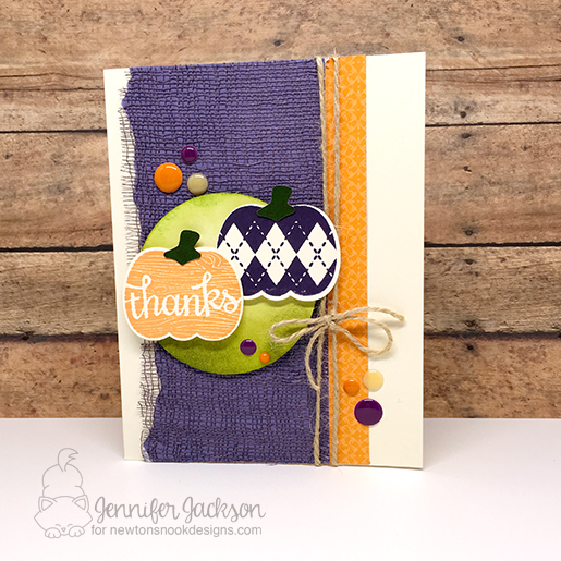 Pumpkin Thanks card by Jennifer Jackson for Cupcake Inspirations Challenge 376 | Pick-a-Pumpkin Stamp set and dies by Newton's Nook Designs #newtonsnook