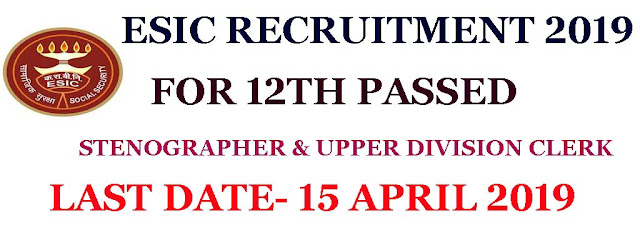 esic recruitment 2019, www.esic.nic.in recruitment 2019, stenographer jobs 2019, state government jobs 2019, apply online for esic recruitment 2019 stenographer posts