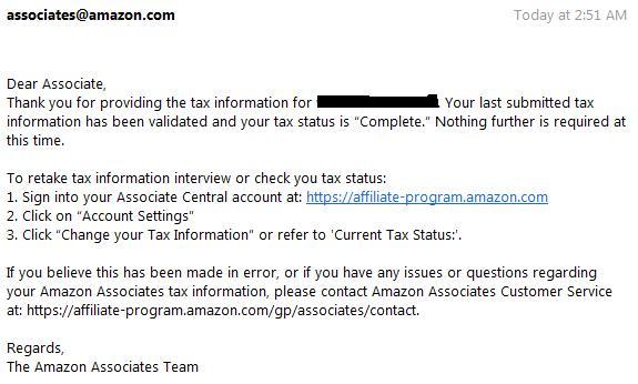 email konfirmasi amazon pajak formulir complete