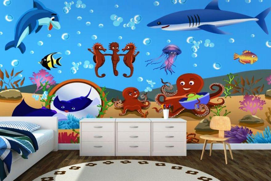 Gambar Wallpaper Dinding Kamar Anak Cewek Tema Bawah Laut