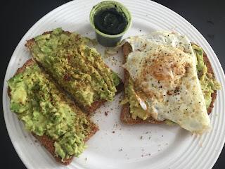Avocado Toast with a Fried Egg & Shot of Wheatgrass