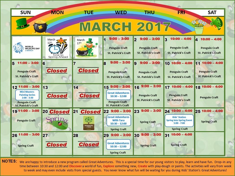 March Calendar Kids : Kids station children s museum march calendar