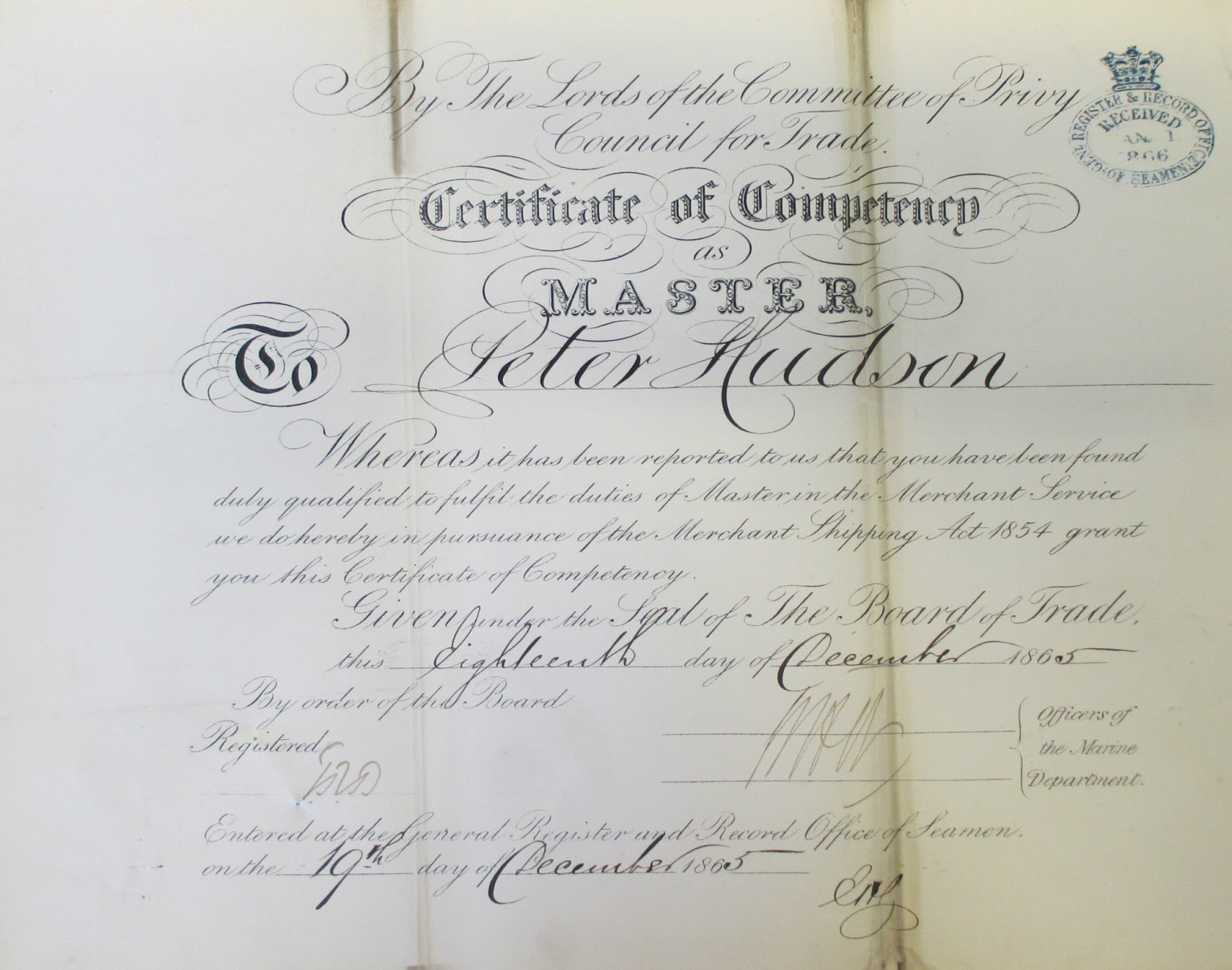 Hudson journeys peter hudson 1837 1872 peter hudsons 1865 certificate of competency as a ships master the original is in the maritime museum archives at greenwich uk xflitez Gallery