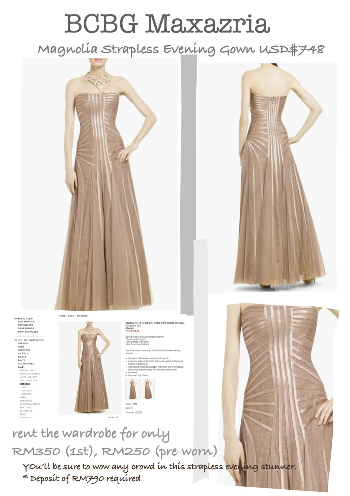 f72efb8ca3a4 BCBG Maxazria Magnolia Strapless Evening Gown USD$748 | Rent The ...