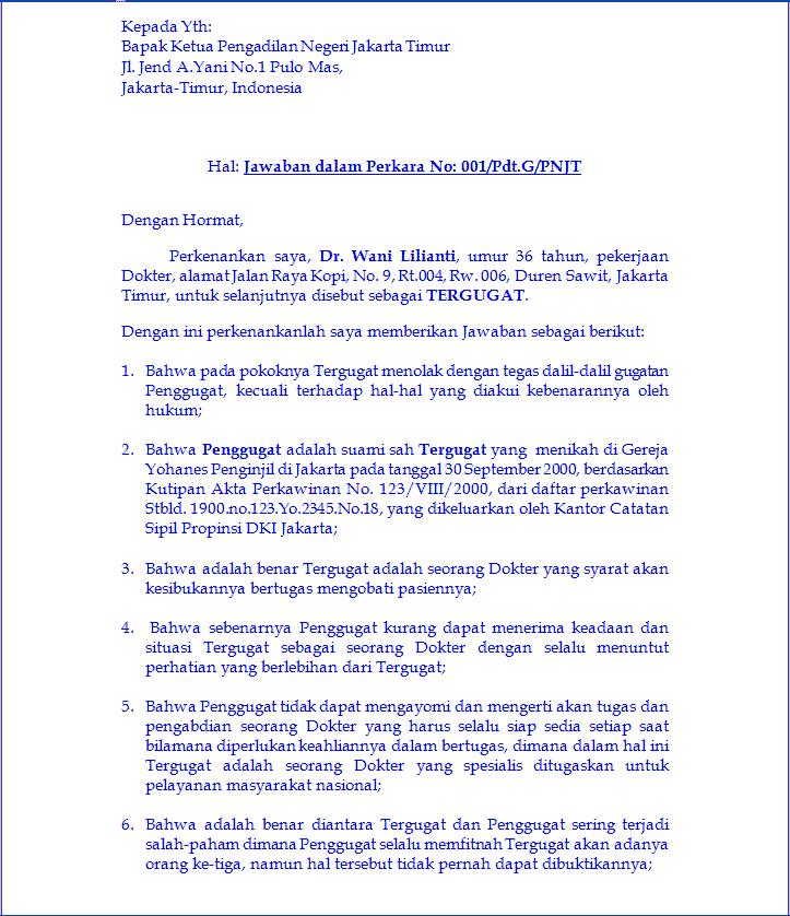 Contoh Surat Jawaban Gugatan