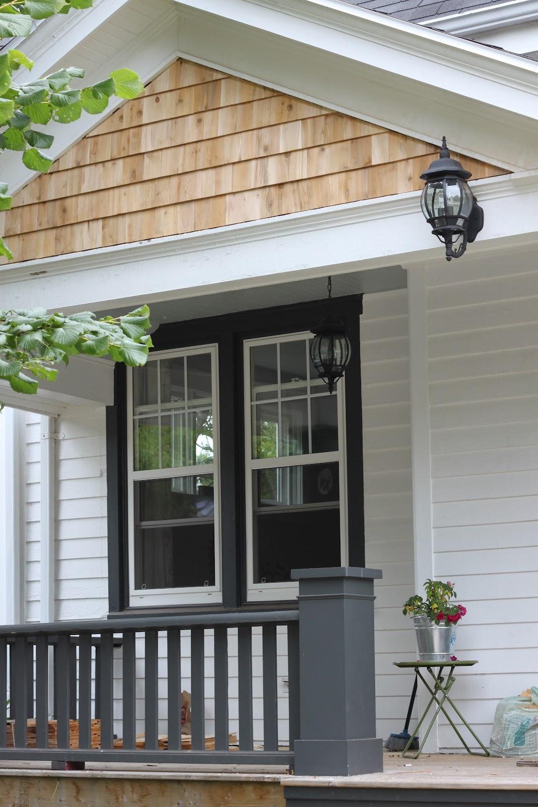 Modern jane porch gable update - White house gray trim ...