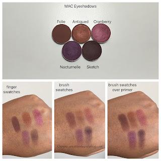 MAC eyeshadow swatches on dark skin