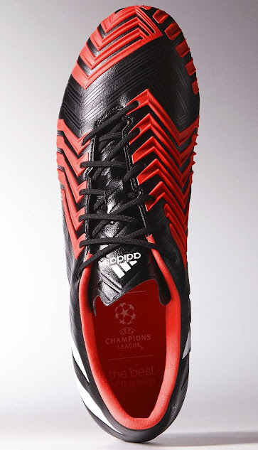 On the medial side of the new Black   Red   White Adidas Predator Instinct  2015 is a gel pad for precision passing and control. 77fd7fdde249