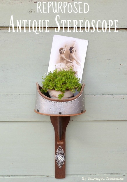 Repurposed antique stereoscope plant and picture holder