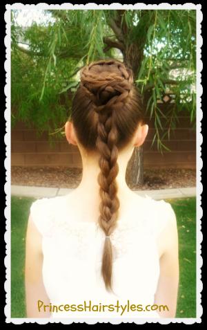 Princess Leia Spiral Braid Bun Updo Hair Tutorial