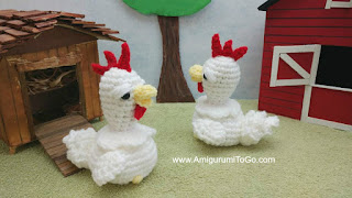 white crochet chickens on a farm