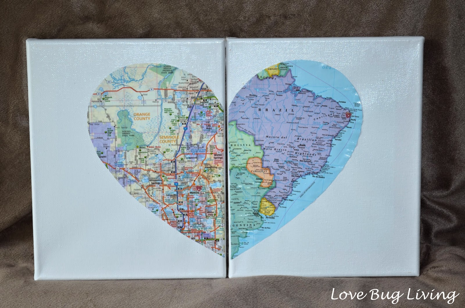 Love Bug Living: Hometown Heart Map Canvas