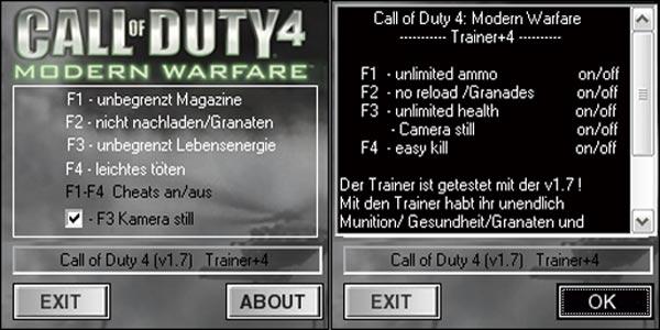 Call duty 4 cheats mac