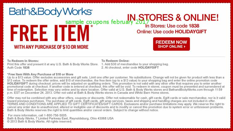 Bath and body coupon code