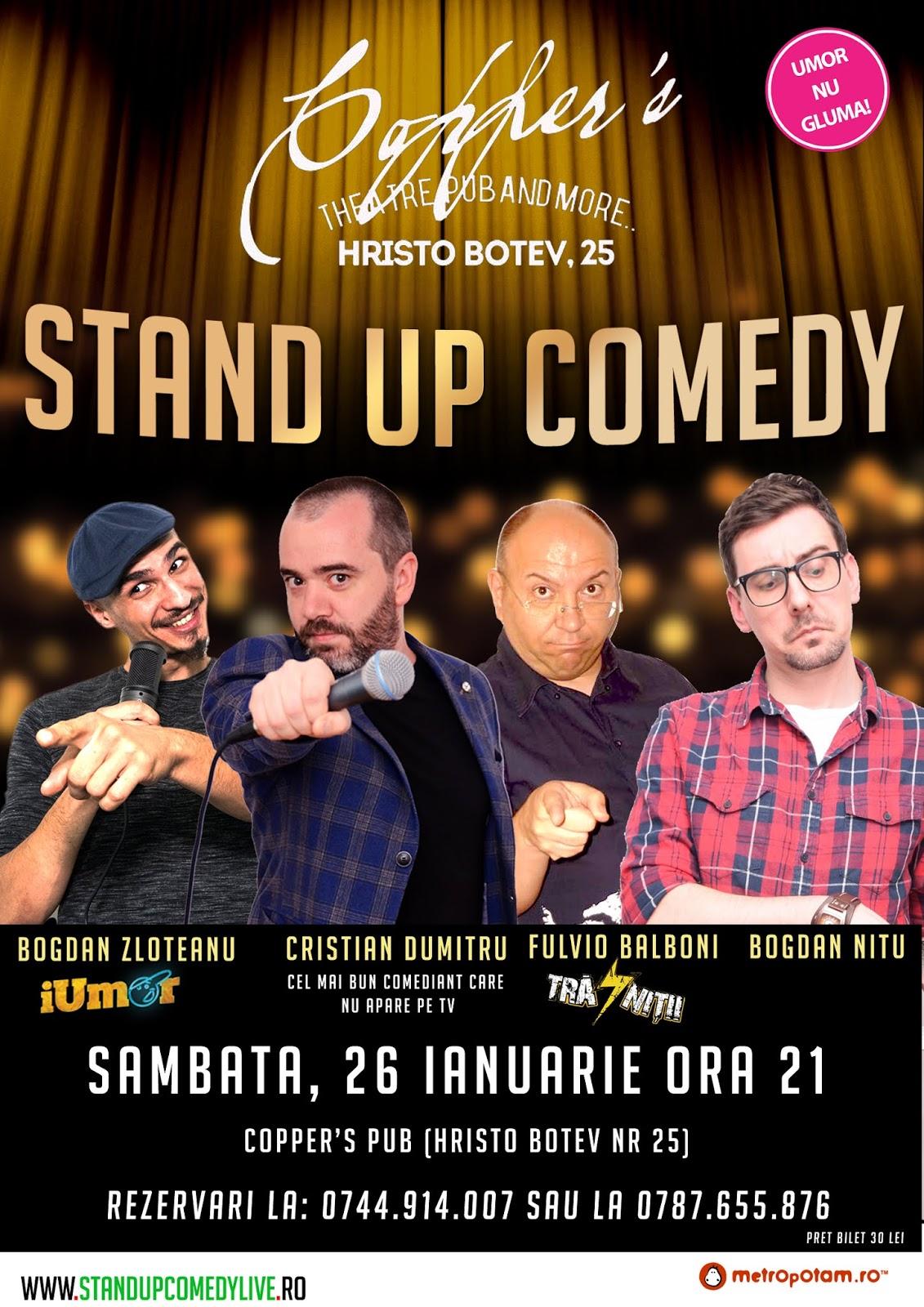 Stand-Up Comedy Bucuresti Sambata 26 Ianuarie 2019